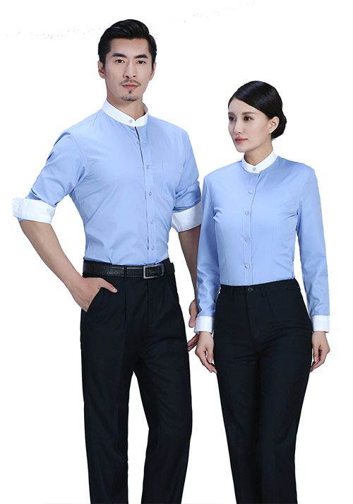 浅蓝立领衬衫